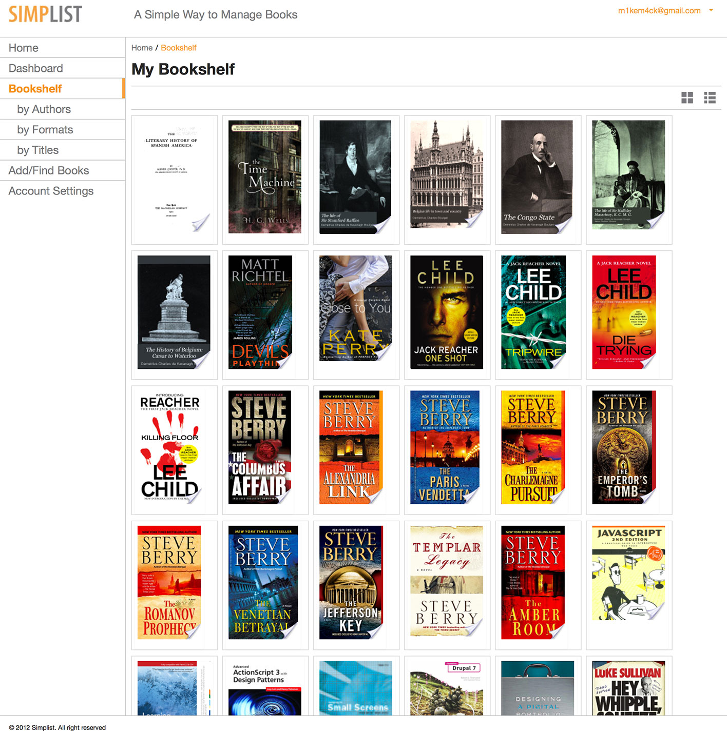 Bookshelf - Grid View
